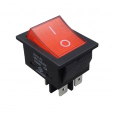 Выключатель красный одноклавишный 16А, 250В, для водонагревателей